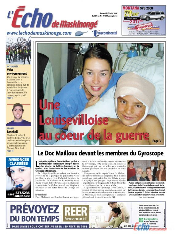 Une infirmière de Louiseville dans un hôpital de guerre