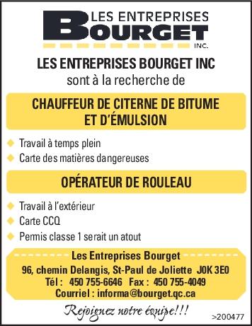 Logo de CHAUFFEUR DE CITERNE DE BITUME ET D'ÉMULSION — OPÉRATEUR DE ROULEAU