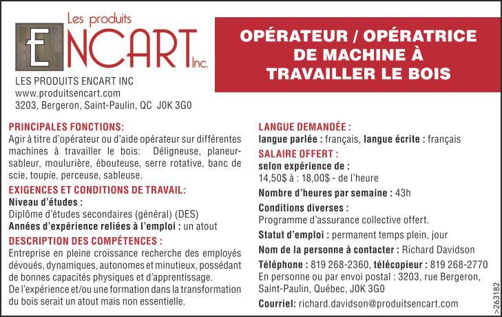 Logo de OPÉRATEUR / OPÉRATRICE DE MACHINE À TRAVAILLER LE BOIS