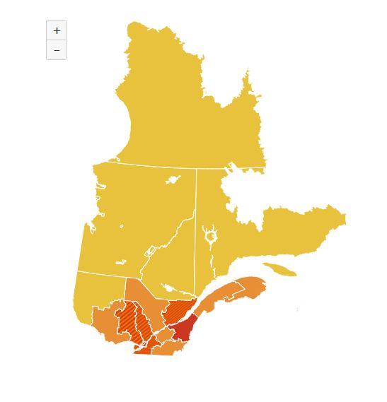 COVID-19 : La Mauricie et le Centre-du-Québec passent en zone orange