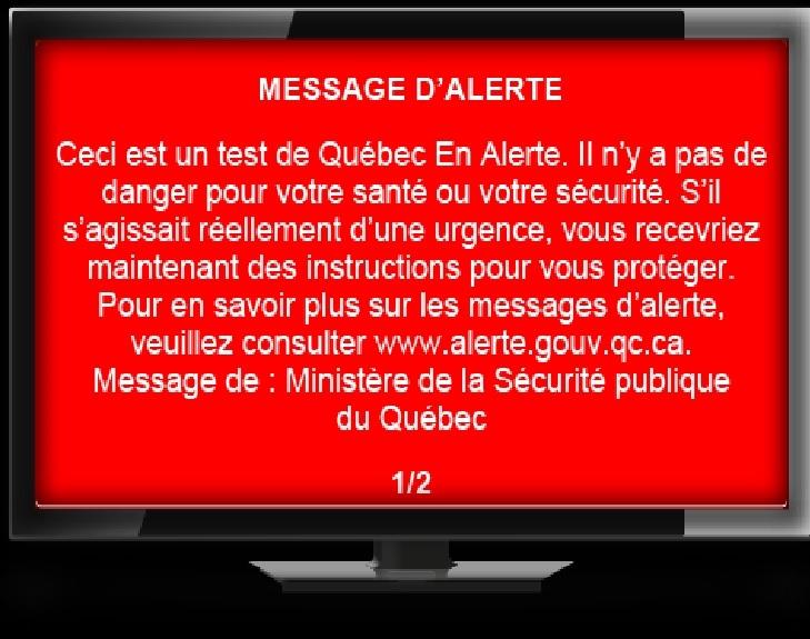 Québec En Alerte : un test aura lieu le 25 novembre